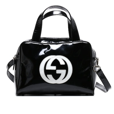 Gucci Black and White Patent Leather Logo Convertible Shoulder Bag