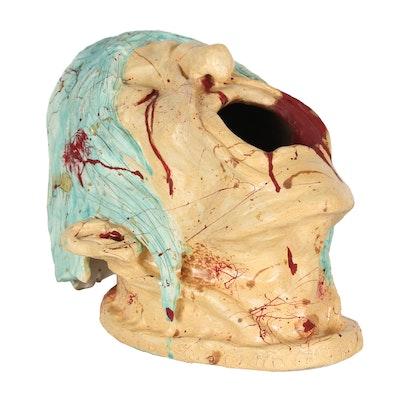 """Kieran Rae Koch Hand-Built Ceramic Vessel """"Screaming Face"""""""