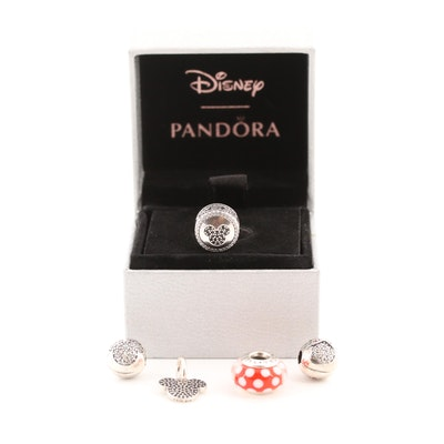 Five Pandora Disney Sterling Silver Charm Beads