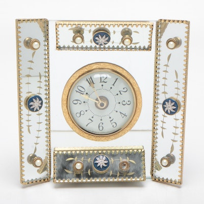 Sessions Bejeweled Mirrored Table Clock, Circa 1930s