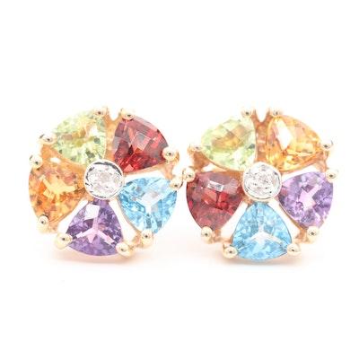 14K Yellow Gold Diamond and Gemstone Earrings