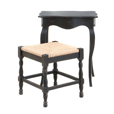 French Provincial Style Accent Table With Rush Seat Stool, 2000s