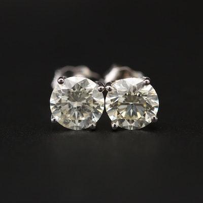 14K White Gold 1.23 CTW Diamond Stud Earrings