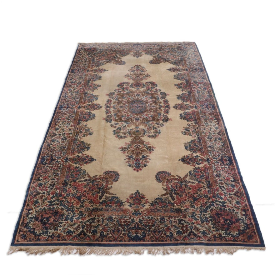 Hand-Knotted Persian Kerman Palace Sized Wool Rug