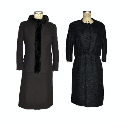 Dress Suit Trimmed in Fur and Jacquard Cocktail Dress Set, Mid-20th Century