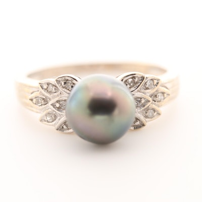 14K White Gold Cultured Pearl and Diamond Ring