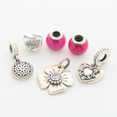 Pandora Sterling Silver Charm Beads with Cubic Zirconia and Enamel