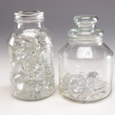 Jars with Faceted Tear-Drop Prisms