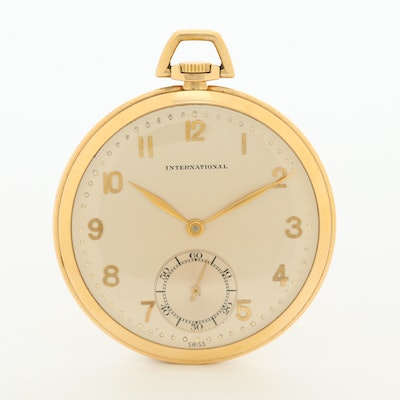Vintage IWC 14K Yellow Gold Open Face Pocket Watch, Circa 1945