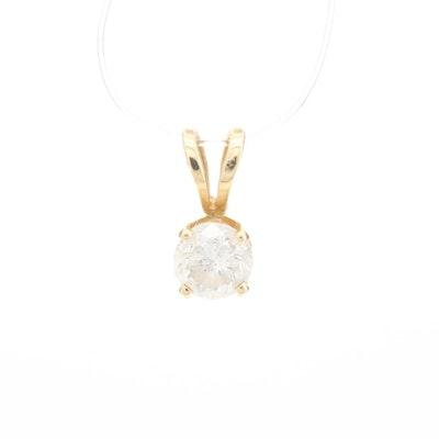 14K Yellow Gold Diamond Solitaire Pendant