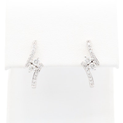 14K White Gold Diamond J Hoop Earrings