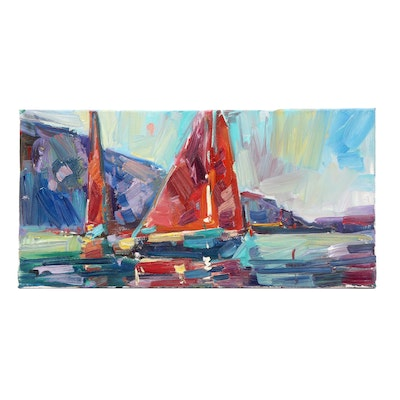 "Jose Trujillo Oil Painting ""Racing Sailboats"""