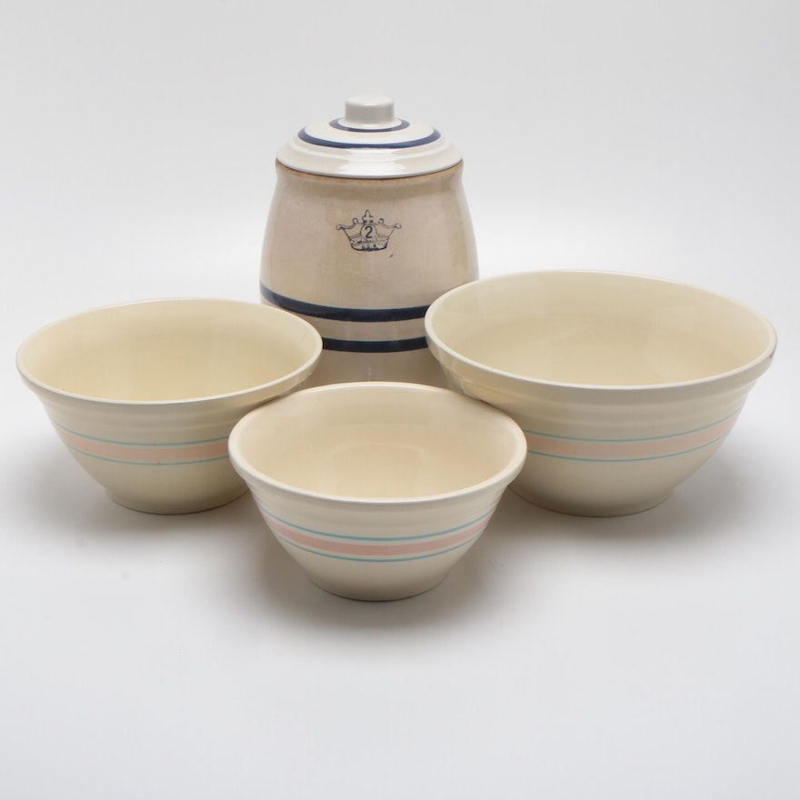 McCoy Earthenware Nesting Bowls and Robinson Ransbottom Stoneware Water Cooler