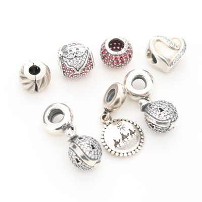 Pandora Sterling Silver Christmas Charm Beads with Cubic Zirconia Accents