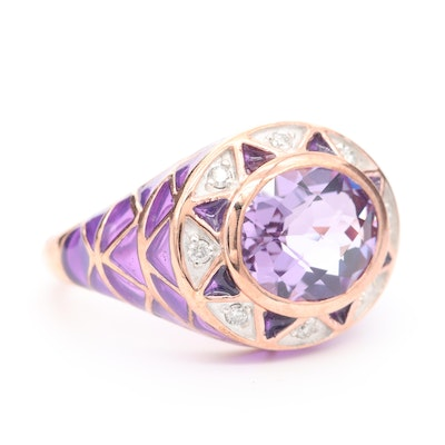 Rose Gold Wash on Sterling Silver Diamond, Amethyst and Enamel Ring
