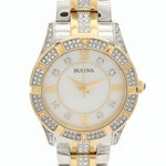 Bulova Crystal Two Tone Watch With Mother of Pearl Dial and Swarovski Crystals