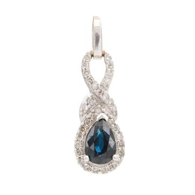10K White Gold Blue Sapphire and Diamond Pendant