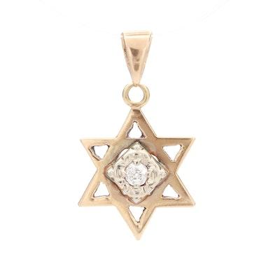 14K Yellow Gold Diamond Star of David Pendant