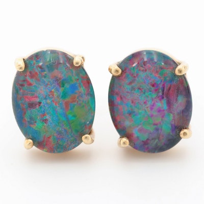 10K Yellow Gold Opal Triplet Earrings
