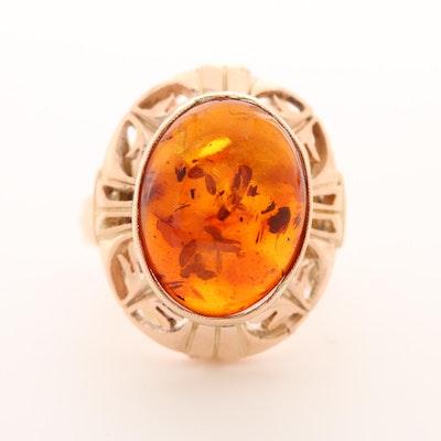 Vintage Polish 14K Rose Gold Amber Ring