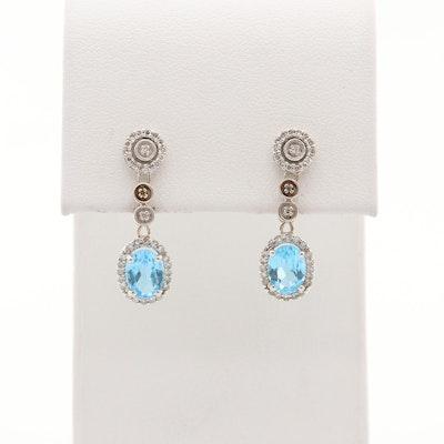 14K White Gold Topaz and Diamond Dangle Earrings