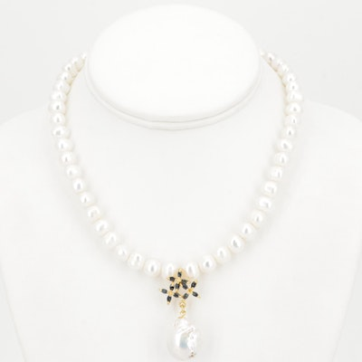 Sterling Silver Freshwater Pearl and Sapphire Flower Dangle Necklace