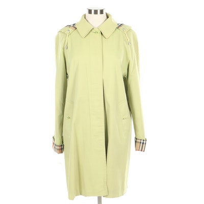 "Burberry London Lime Green Hooded Raincoat with ""Nova Check"" Trim"