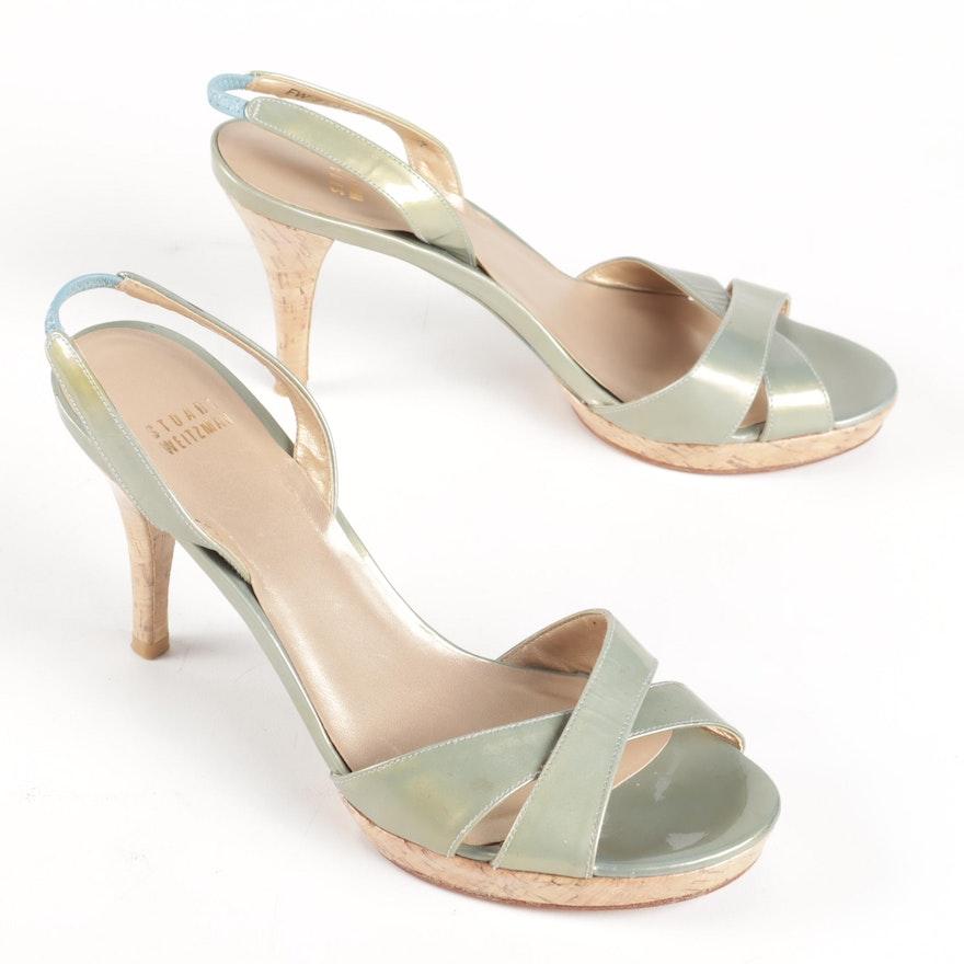 Stuart Weitzman Sage Patent Leather Platform Cork Heel Slingback Sandals