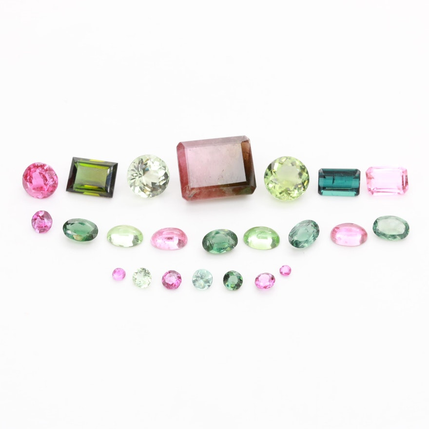 Loose 21.62 CTW Tourmaline Gemstones