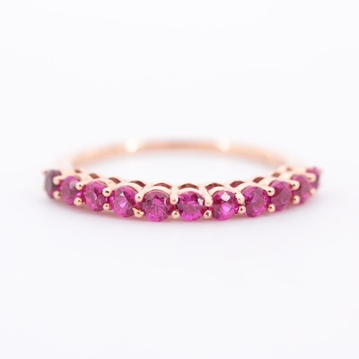 10K Rose Gold Synthetic Ruby Ring