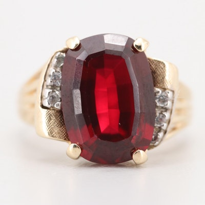 10K Yellow Gold 7.25 CT Synthetic Ruby and Synthetic Spinel Ring