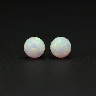 14K Yellow Gold Synthetic Opal Stud Earrings