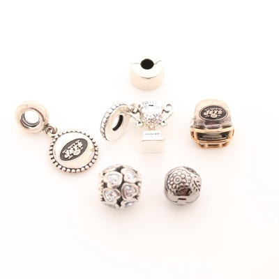 Pandora Sterling Silver Charm Beads with Cubic Zirconia and Enamel Accents