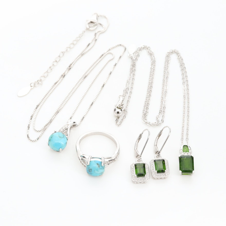 Sterling Silver Assorted Jewelry with Turquoise, Diopside and White Sapphire