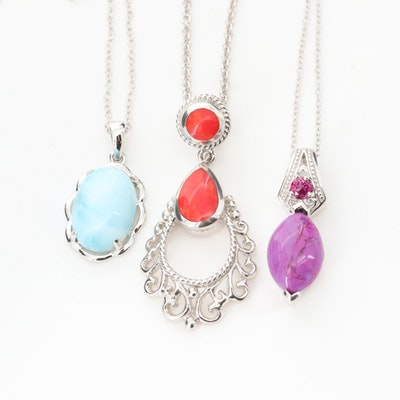 Sterling Silver Necklaces with Larimar, Charoite and Swirled Glass
