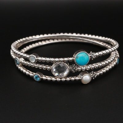 Michael Dawkins Sterling Topaz, Cultured Pearl, and Moonstone Bangle Bracelets