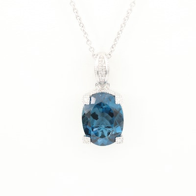 Sterling Silver Topaz and Diamond Enhancer Pendant Necklace