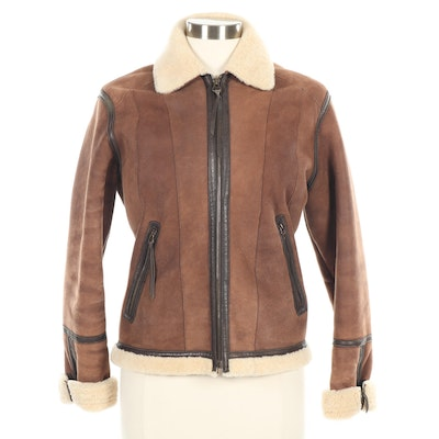 Façonnable Sheepskin, Shearling and Leather Zipper-Front Jacket