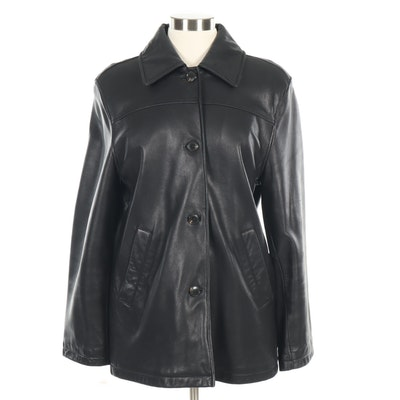 Mark New York Andrew Marc Black Leather Button-Front Car Coat