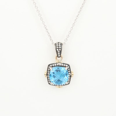 Sterling Silver Topaz and Diamond Pendant Necklace with 10K Yellow Gold Accents