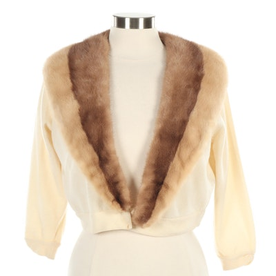Cardigan Sweater with Mink Fur Collar and Velvet Floral Appliqués, 1950s Vintage