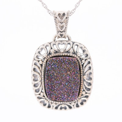 Sterling Silver Druzy Pendant Necklace