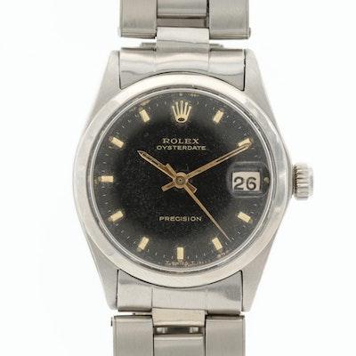 Vintage Rolex Oysterdate Midsize Stainless Steel Stem Wind Wristwatch, 1967