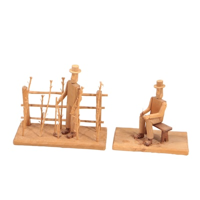 Donnie Brown Folk Wood Sculptures of Male Figures