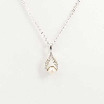 Sterling Silver Glass and Cultured Pearl Pendant Necklace