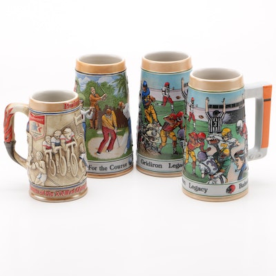 Ceramarte Sports and Olympics Ceramic Beer Steins for Budweiser