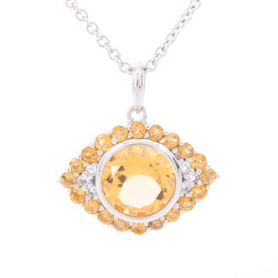 Sterling Silver Citrine and White Topaz Necklace