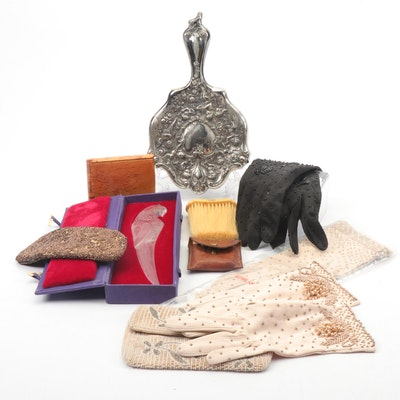 Faux Ivory Brush, Ostrich Leather Pouch and More Early 20th Century Accessories
