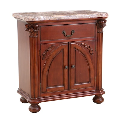 Empire Style Mahogany Finish Marble Top Cabinet, Contemporary