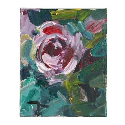 "Jose Trujillo 2018 Oil Painting ""Pink Rose"""